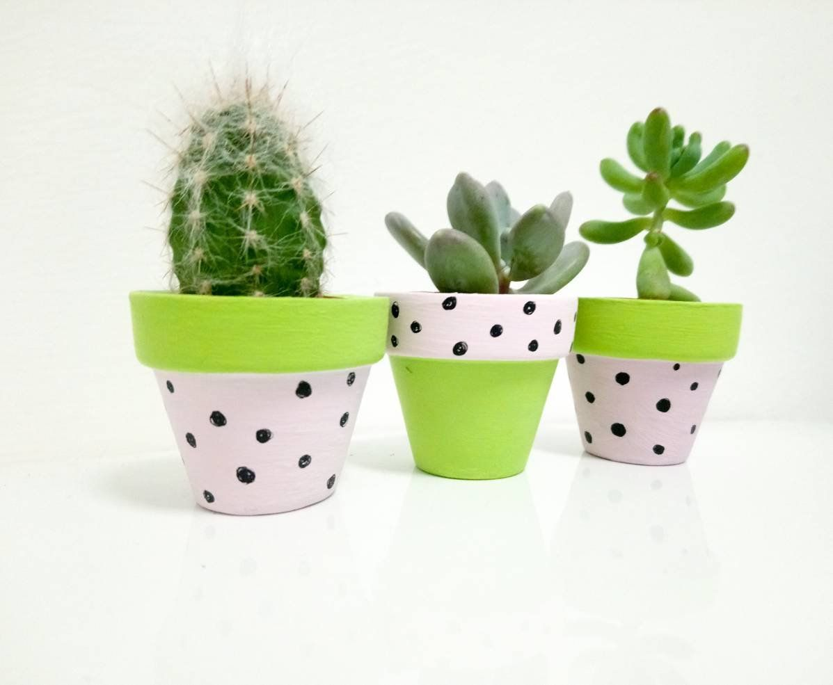 3 X Mini Plant Pots Cacti Pots Small Plant Pot Painted Plant Pot Cute Plant Pot By Pinkyshandmade On Mini Plant Pots Small Potted Plants Painted Plant Pots