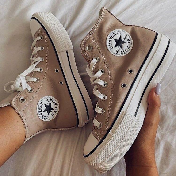 Beige converse shoes