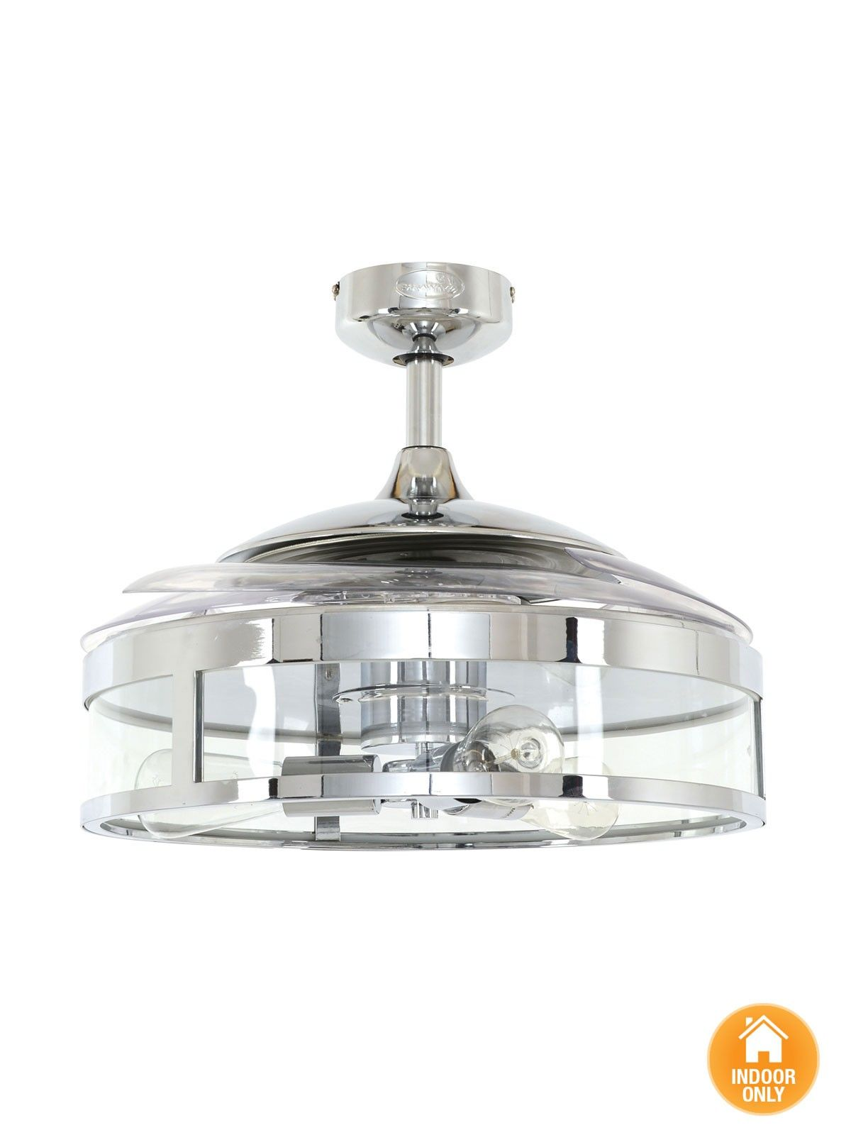 Fanaway Classic Chrome Ceiling Fan With Clear Retractable Blades And Light