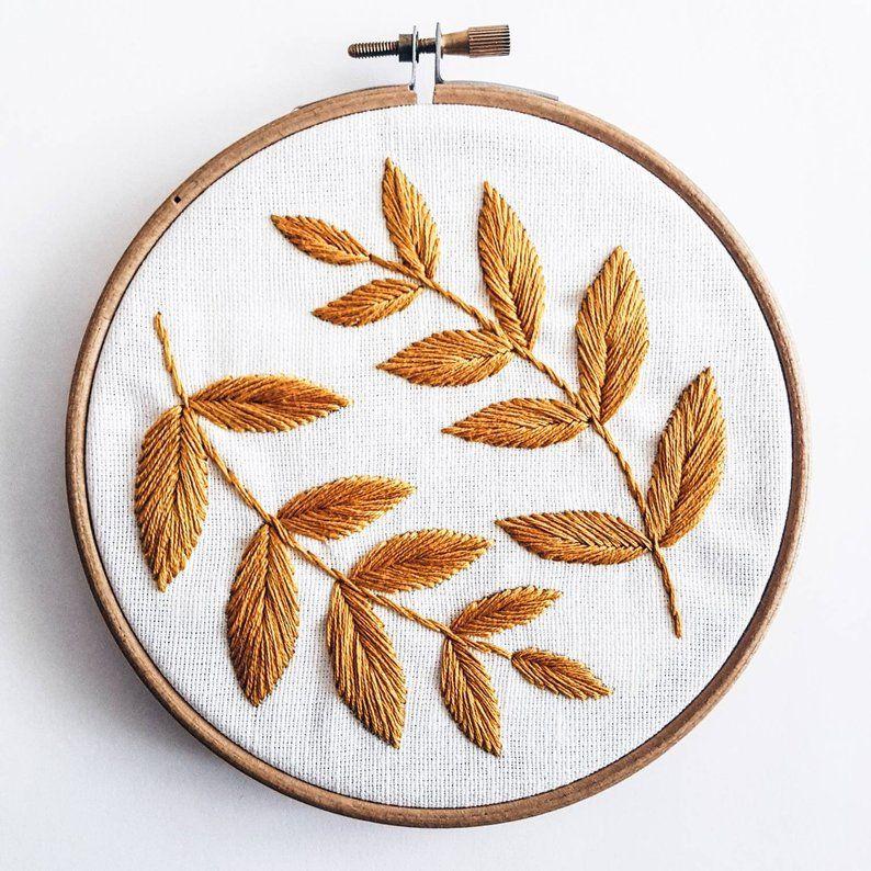Leaves Embroidery Pattern Pdf pattern Home decor PDF Digital Download 5 embroidery hoop DIY Home De #embroiderypatternsbeginner