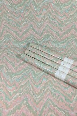 Details about Vintage Wallpaper Wavy Chevron Stripe Pink Green White Blue Abstract 4 Roll Lot #pinkchevronwallpaper