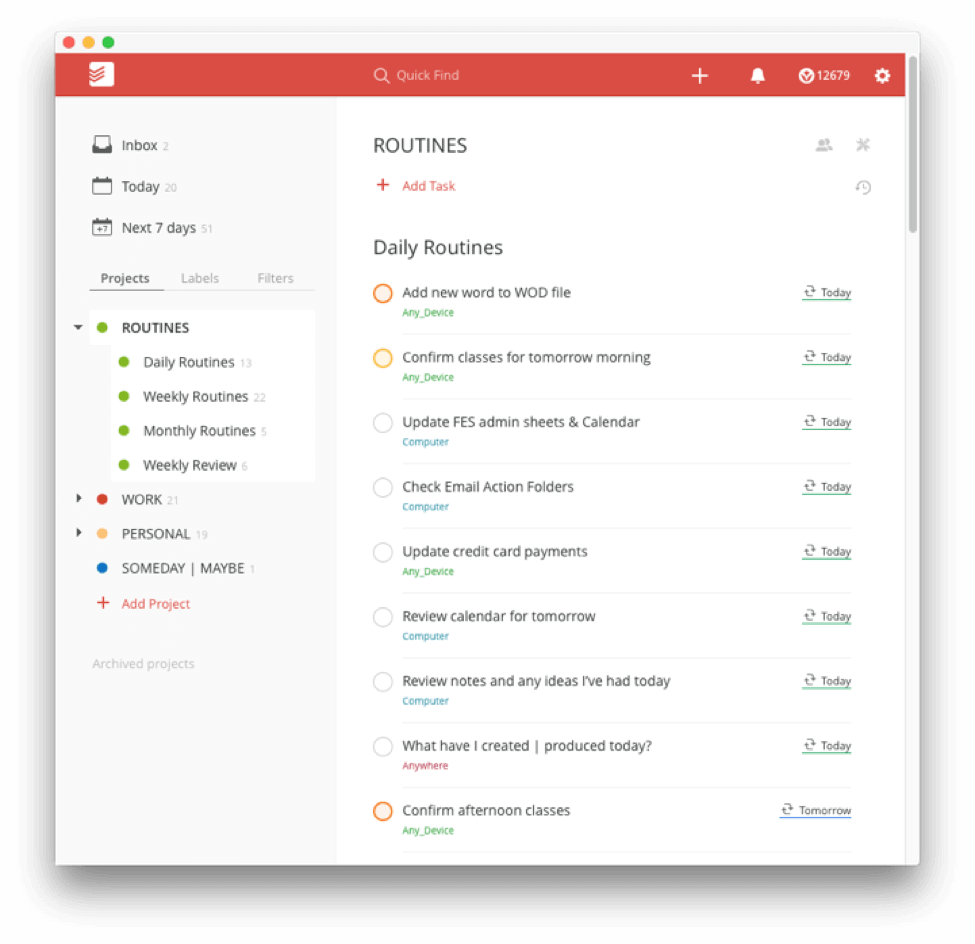 Todoist Routines  Setting Up Recurring Daily Weekly Monthly