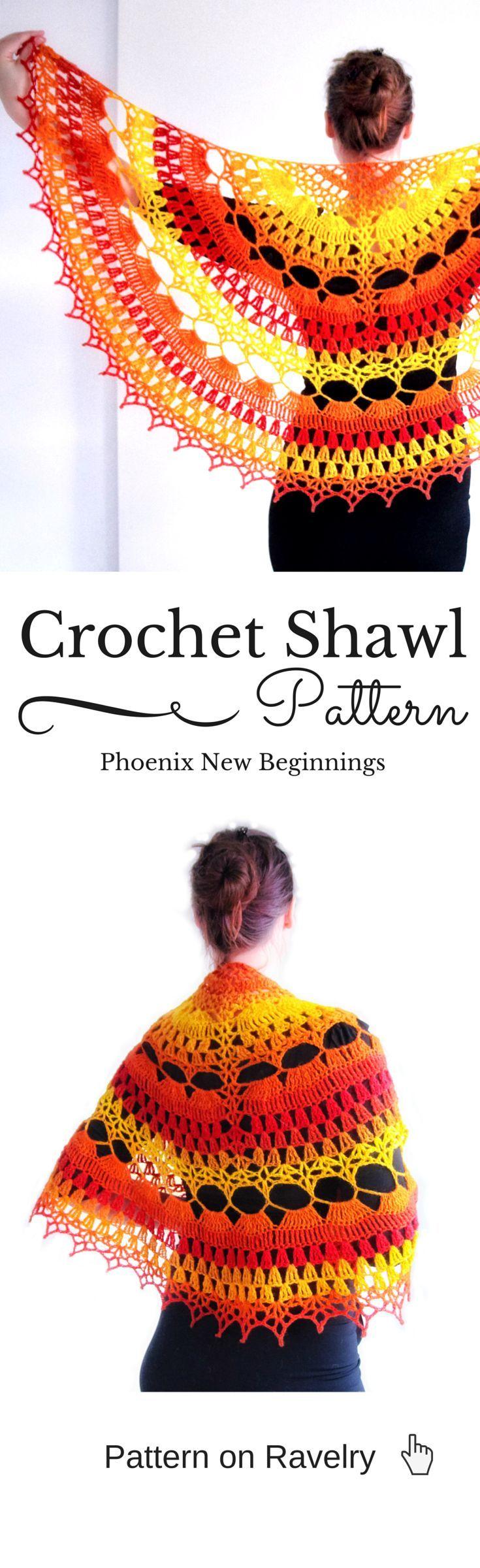Phoenix New Beginnings pattern by Elena Madsen | Chal, Ponchos y Tejido