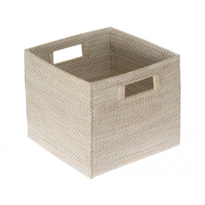Merveilleux Square Storage Basket   White Washed Rattan