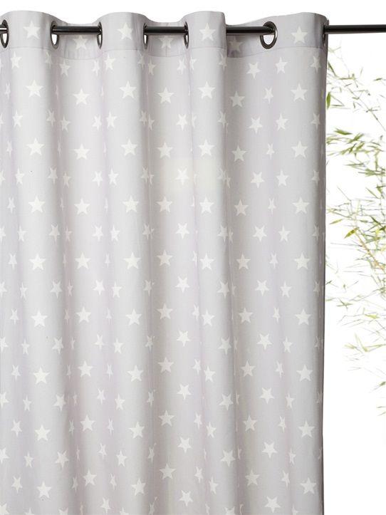 rideau imprim en coton avec oeillets bleu griseetoilesbleuchevronsgrege - Rideau Chambre Bebe Etoile