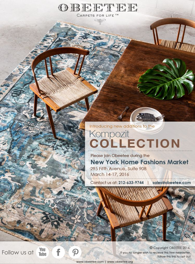 Join us in the New York Home Fashions Market!  Save the date: March 14 - 17, 2016 295 Fifth Avenue, Suite 908