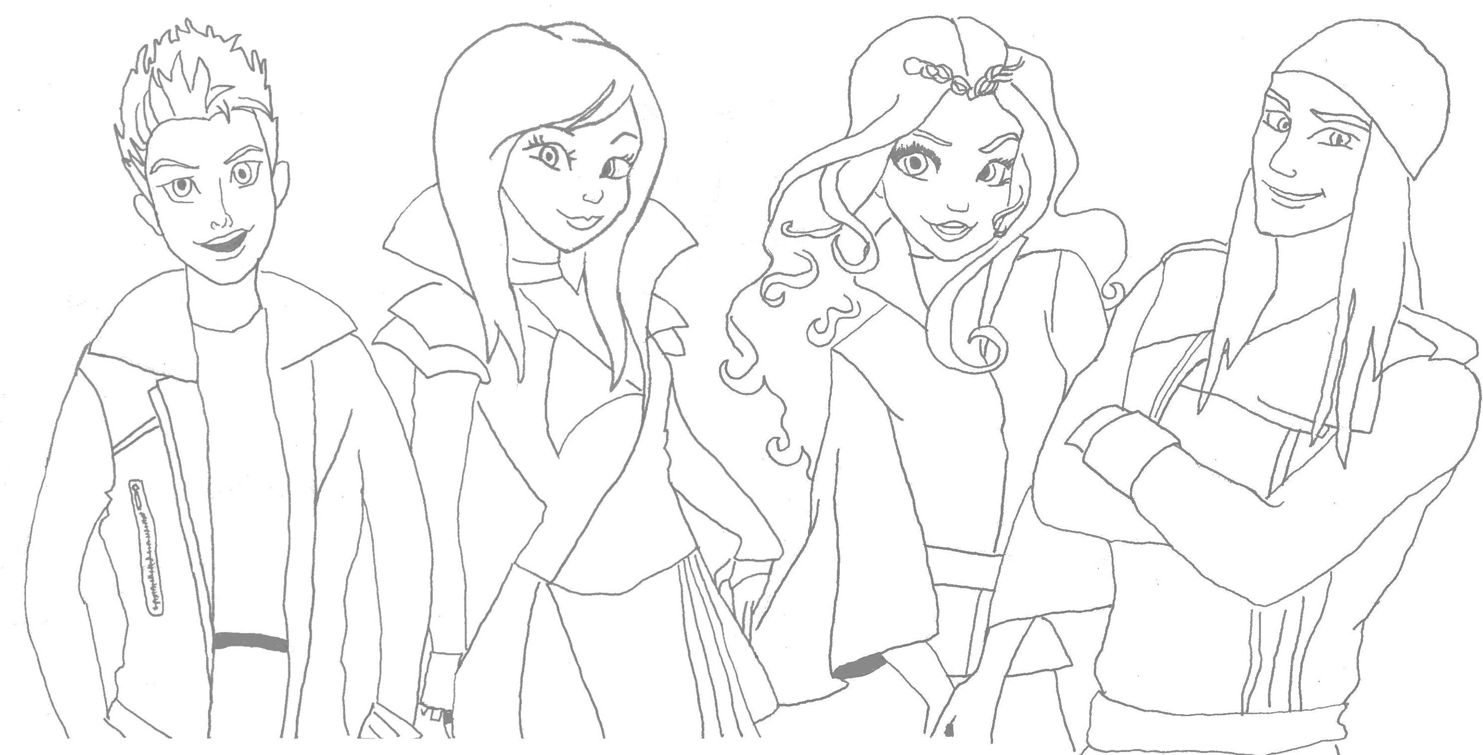 Awesome Disney Descendants Coloring Sheet. This Is My First Pin. I Could Not Find  ANY Coloring Sheets For Descendants So I Traced A Photo. Iu0027m Not An Artist.