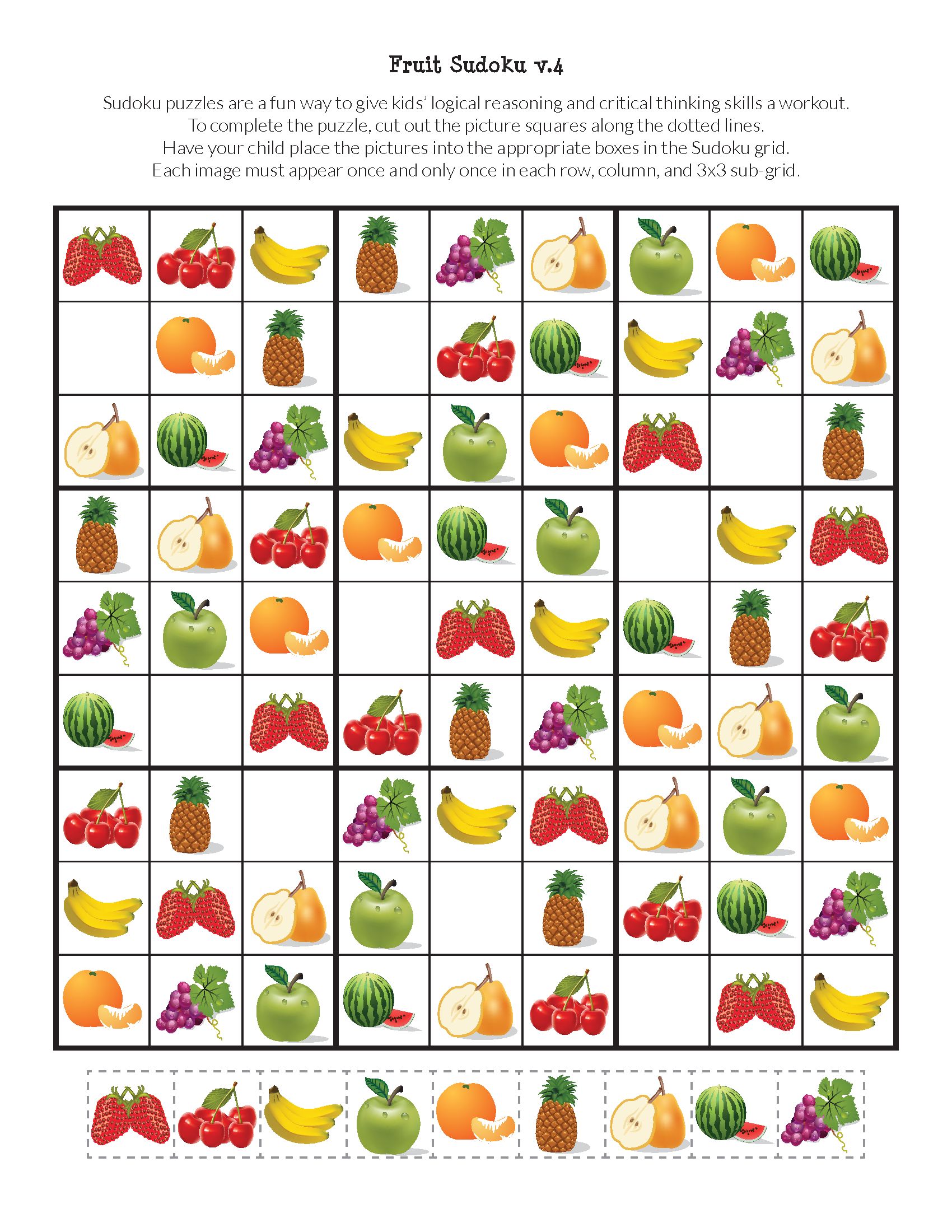 Fruit Sudoku Puzzles Free Printables