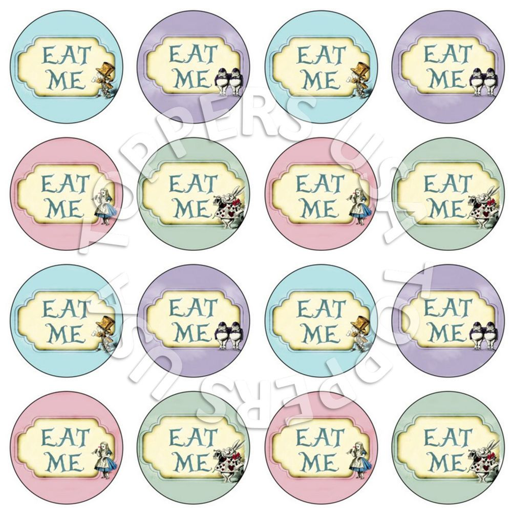 16x Edible Alice In Wonderland Eat Me Cupcake Toppers Wafer Paper 4cm Uncut Ebay In 2021 Mad Hatter Party Mad Hatter Tea Party Alice In Wonderland Birthday
