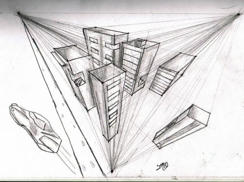 3 Point Perspective Drawing Birds Eye View