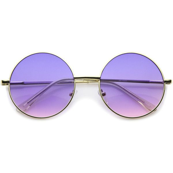 b90be112d6 Retro festival oversize round color lens sunglasses a134 (£11) ❤ liked on  Polyvore featuring accessories, eyewear, sunglasses, glasses, purple,  circle lens ...