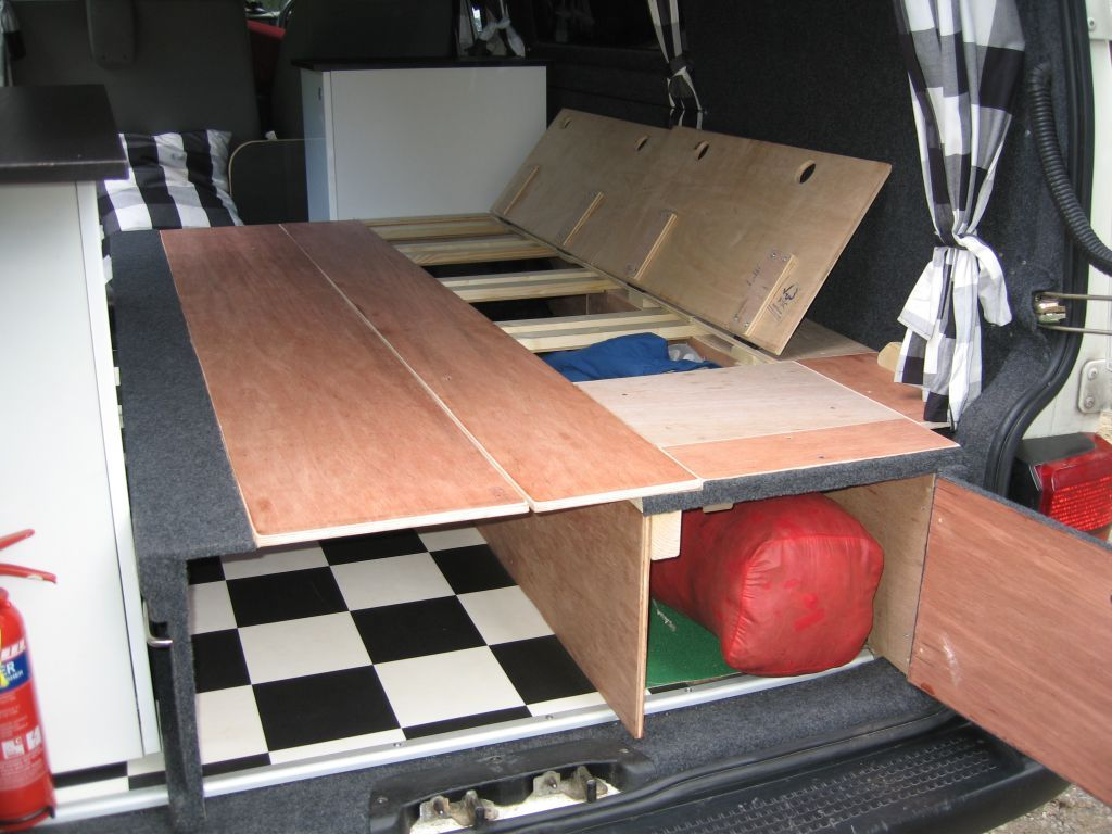 Self made wooden seat beds pics please vw t4 forum vw for Self made headboards