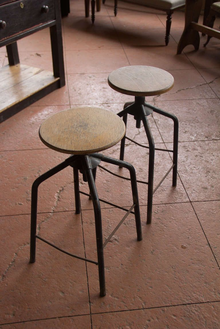 Pair Of Vintage French Industrial Adjustable Stools | From A Unique  Collection Of Antique And Modern Industrial Furniture At ...