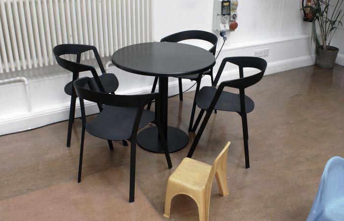 Brighton Dome Café-bar (UK), Compas chair by Christophe Norguet for Kristalia #designchair #bistrofurniture #blackfurniture