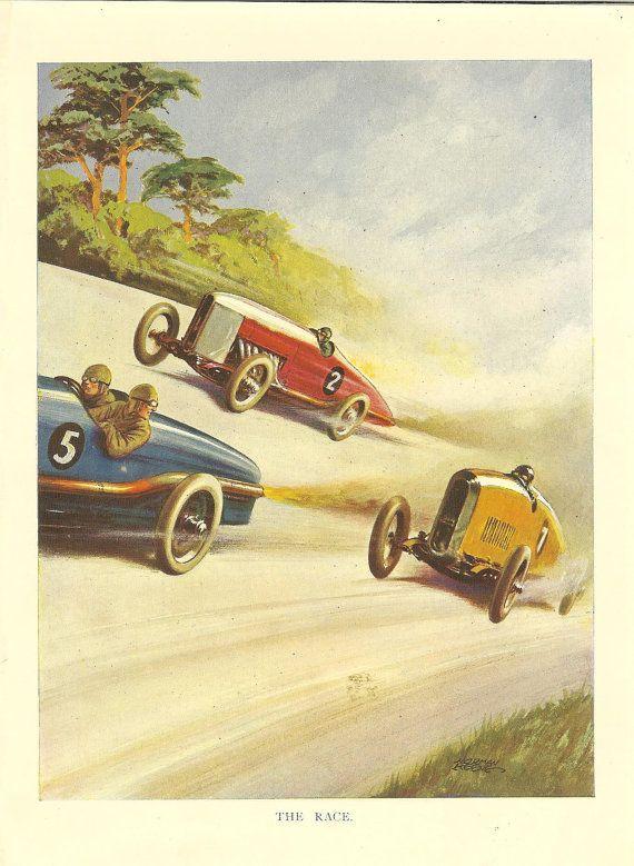 1920s Original Motor Racing Print Automobile Racing Car Etsy Vintage Racing Poster Vintage Racing Vintage Cars