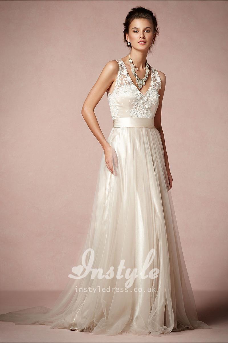 embroidered sleeveless v-neckline floor length a-line informal ...