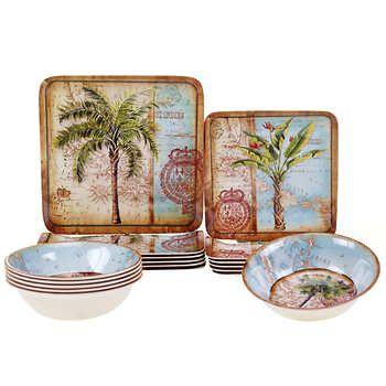 Certified International Antique Palms 18-piece Melamine Dinnerware ...