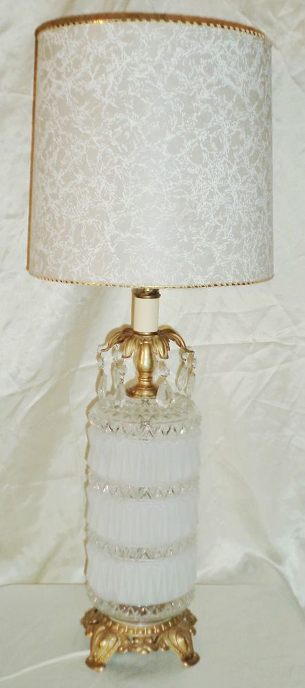 Vintage hollywood regency electric table lamp w retro shade vintage hollywood regency electric table lamp w retro shade hanging crystals aloadofball Choice Image