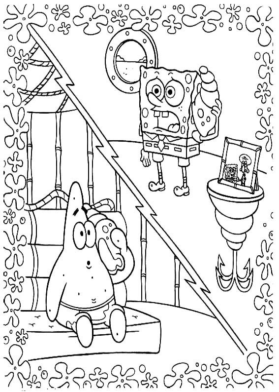 spongebob And Patrick Talking Over The Phone Coloring Page