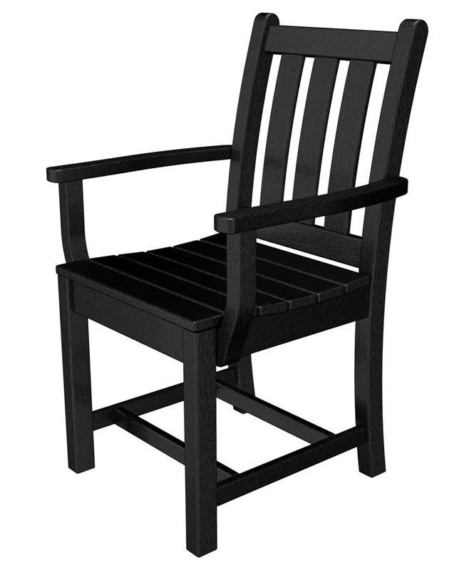 Polywood TGD200BL Traditional Garden Dining Arm Chair in Black