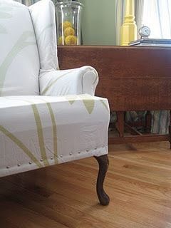 Attractive NO SEW Wing Chair Slipcover.