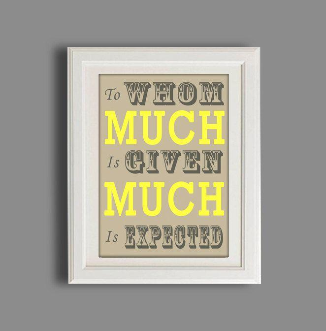 Typography Print, Biblical Quote, Mocha & Yellow, Art Print ...