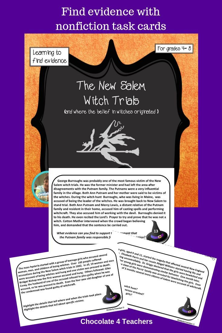 New Salem Witch Trials: Non-Fiction Task Cards | Task ...