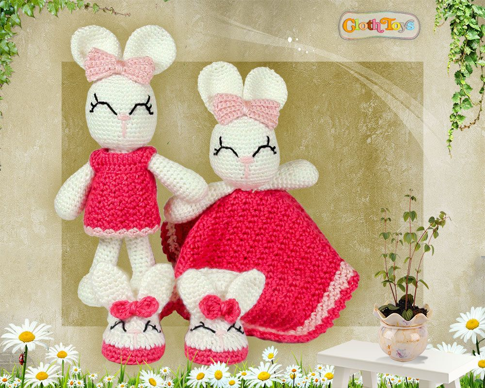 Crocheted bunny toy security blanket and matching bunny booties crocheted bunny toy security blanket and matching bunny booties ready to post cute negle Choice Image