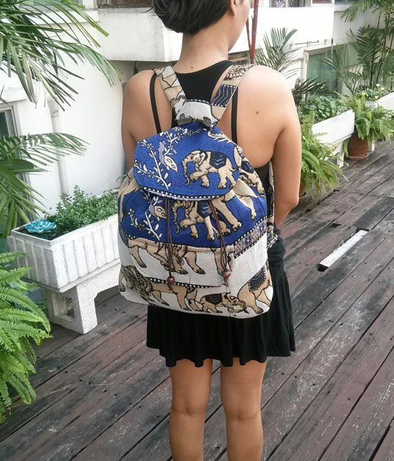 Elephant Tribal Woven Backpack Boho Hippie by TribalSpiritShop   Bag ... 00c3182aa2