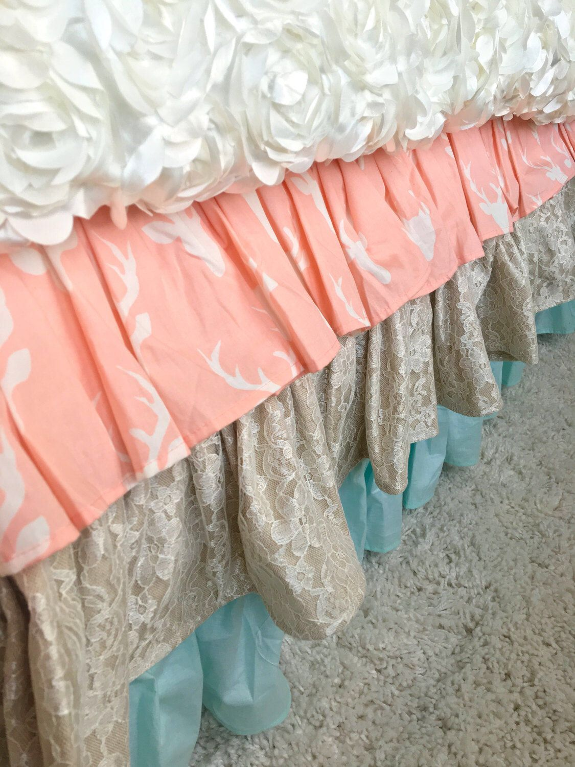 Dust Ruffle Boho Chic Bed Skirt Queen Twin Full Children S Bedding Ruffled Skirts By