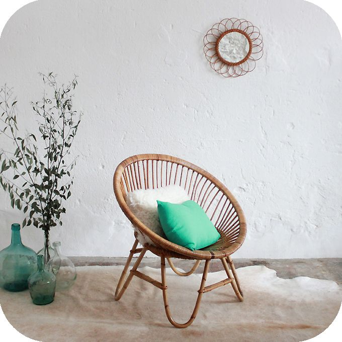 Fauteuil Rotin Vintage D278 Home ナチュラル