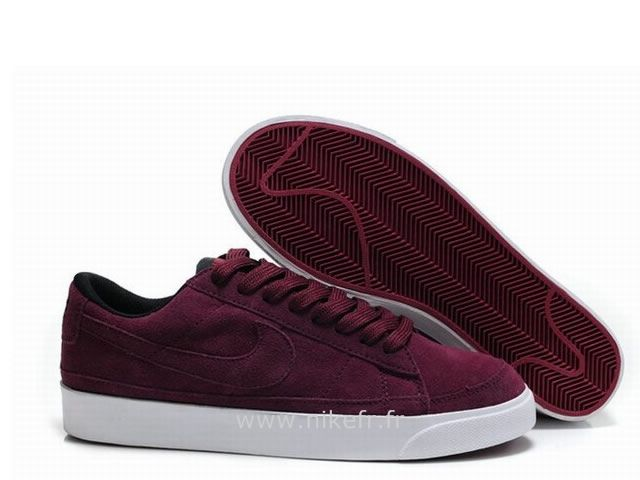 Nike Blazer pour Homme Low ND Vin Rouge Noir Nike Blazer Semi Montante