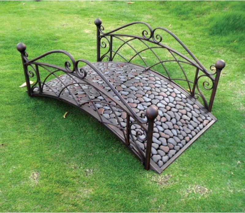 Awesome Nice Small Metal Outdoor Patio Bridge With Decorative Pebbles In Garden