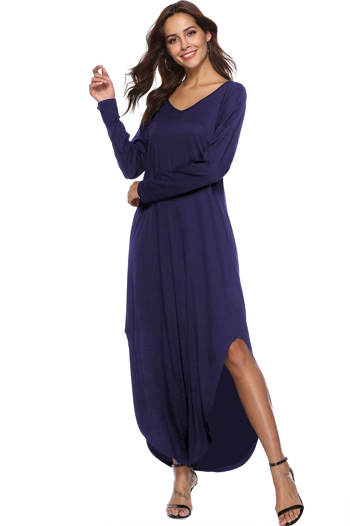 9f158bfb9a012 Women's Casual Long Sleeve Slit Solid Party Summer V-neck Long Maxi ...