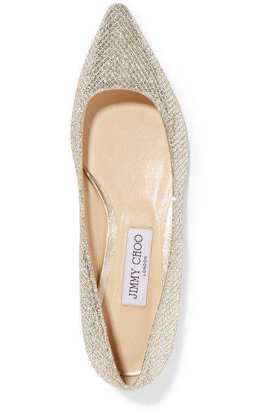 fcf66c501558 Jimmy Choo - Romy Glittered Canvas Point-toe Flats - Gold