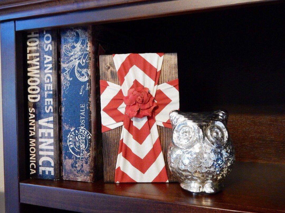 Bookshelf CrossDesk DecorTeachers GiftBookshelf DecorOffice DecorKitchen ArtRed Chevron DecorChevronRedCross By FabricCrossDecor On Etsy