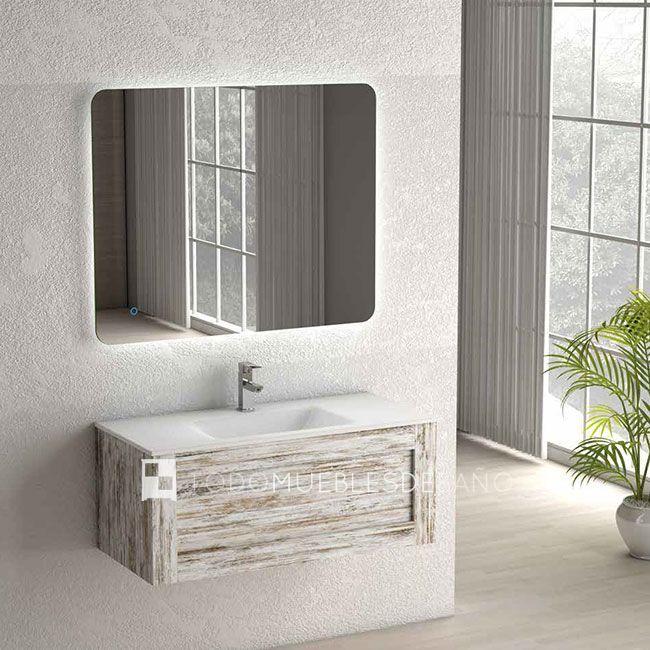 Mueble de ba o denim de 100x45cm acabado vintage for Banos ultramodernos