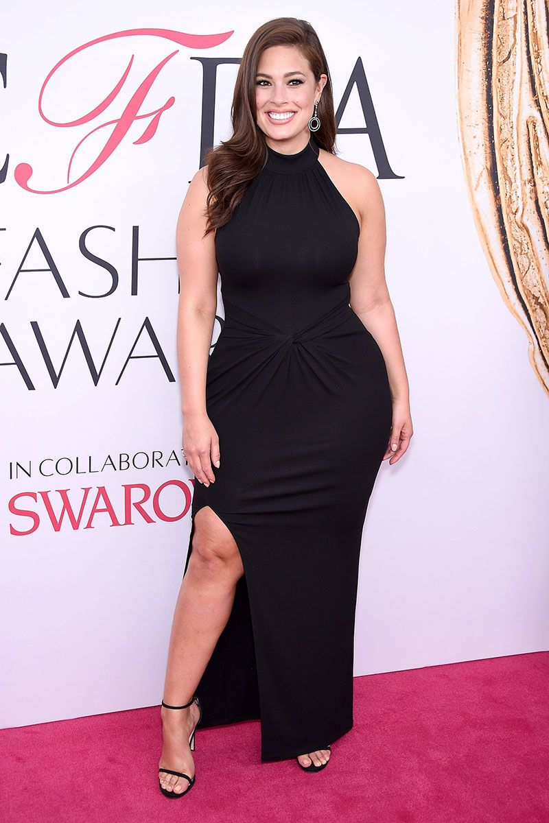 Ashley Graham Plus Size Black Slit Celebrity Prom Dress CFDA 2016 ...