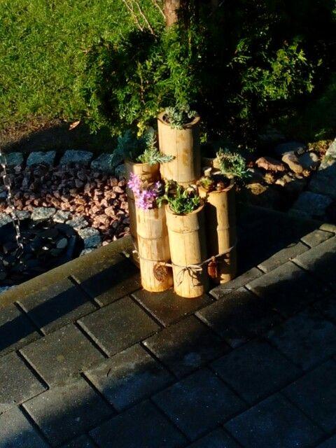 Deko für Terrasse Altes Bambusrohr verwertet.