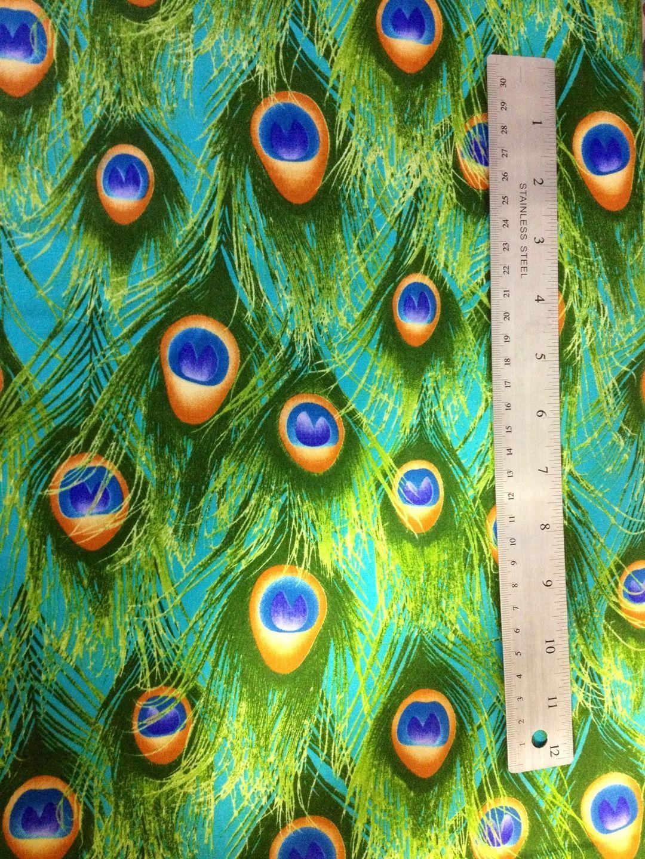 superbe tissu coton plumes de paon vert turquoise orange tissus habillement d co par. Black Bedroom Furniture Sets. Home Design Ideas