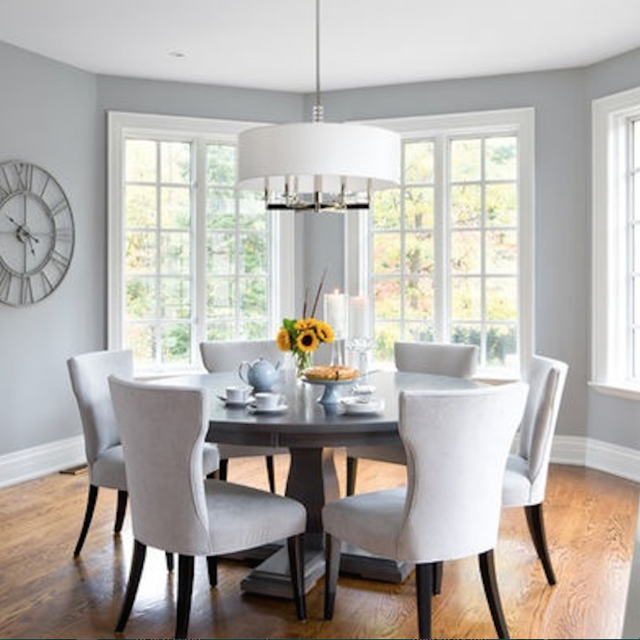 First Look Designers Reveal Their Go To Neutral Paint Colors Grey Dining Room Dining Room Decor Dining Room Design