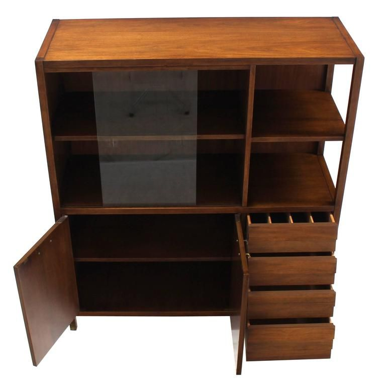 Mid Century Walnut Bookcase Server Display Cabinet W Drawers