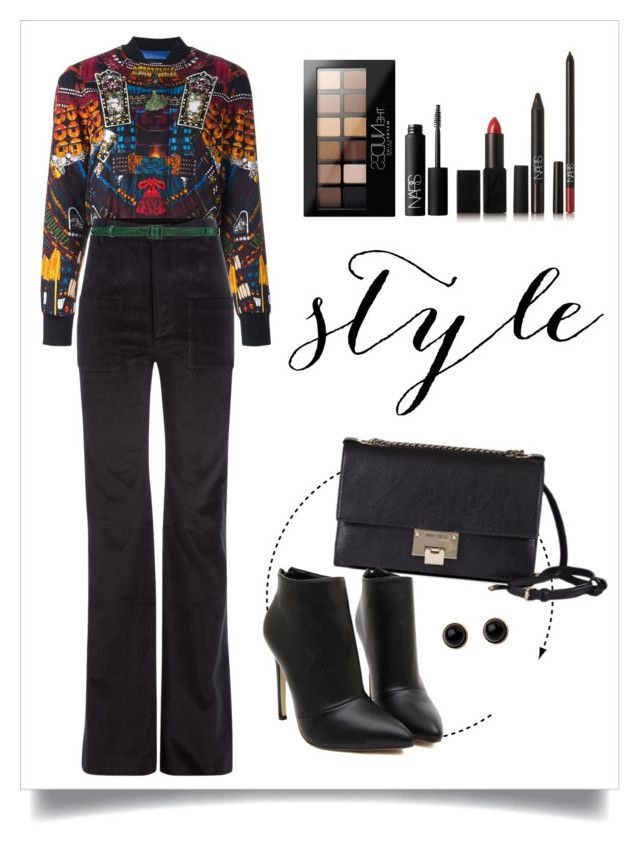 """""""Untitled #120"""" by starshineb ❤ liked on Polyvore featuring Dsquared2, Jimmy Choo, Vetements, Maybelline, NARS Cosmetics, Adele Marie and Oscar de la Renta"""