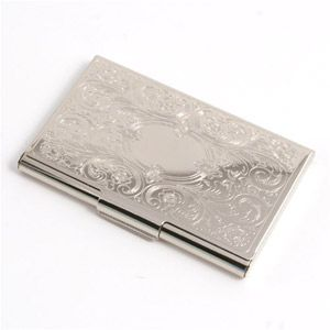 Weddingdepot business card holder embossed scroll silver weddingdepot business card holder embossed scroll silver highly polished silver finish top of lid displays embossed scroll work colourmoves