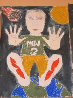 This is a wonderful project that I have done many times with my fifth graders.  It's a great way to teach the idea of foreshortening.  It's...