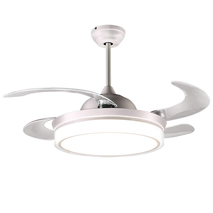Reiga 44 Inch White Modern Ceiling Fan