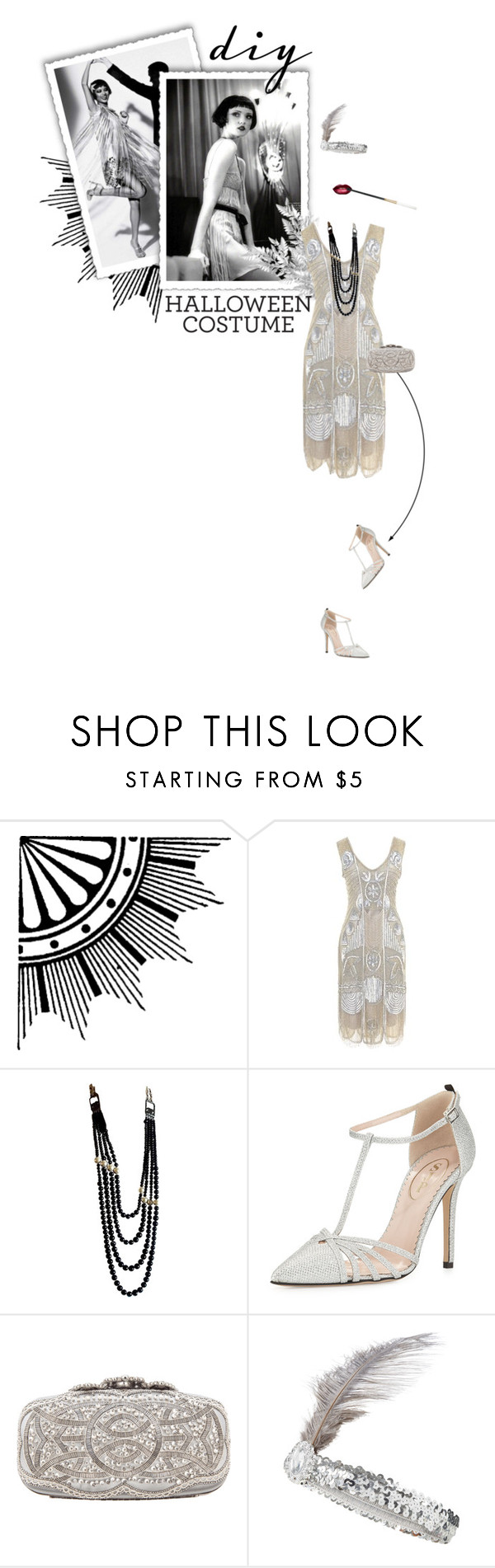 """""""Flapper"""" by kitti-takacs ❤ liked on Polyvore featuring Unique Vintage, Chanel, SJP, Oscar de la Renta, Accessorize and diycostume"""