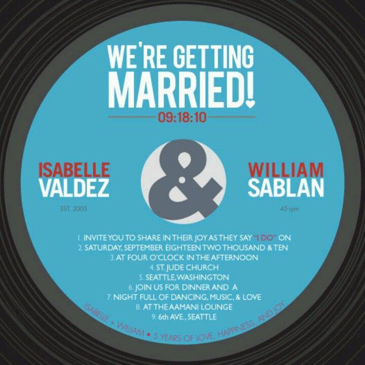Vinyl record invitations | Wedding Ideas | Pinterest | Vinyl ...