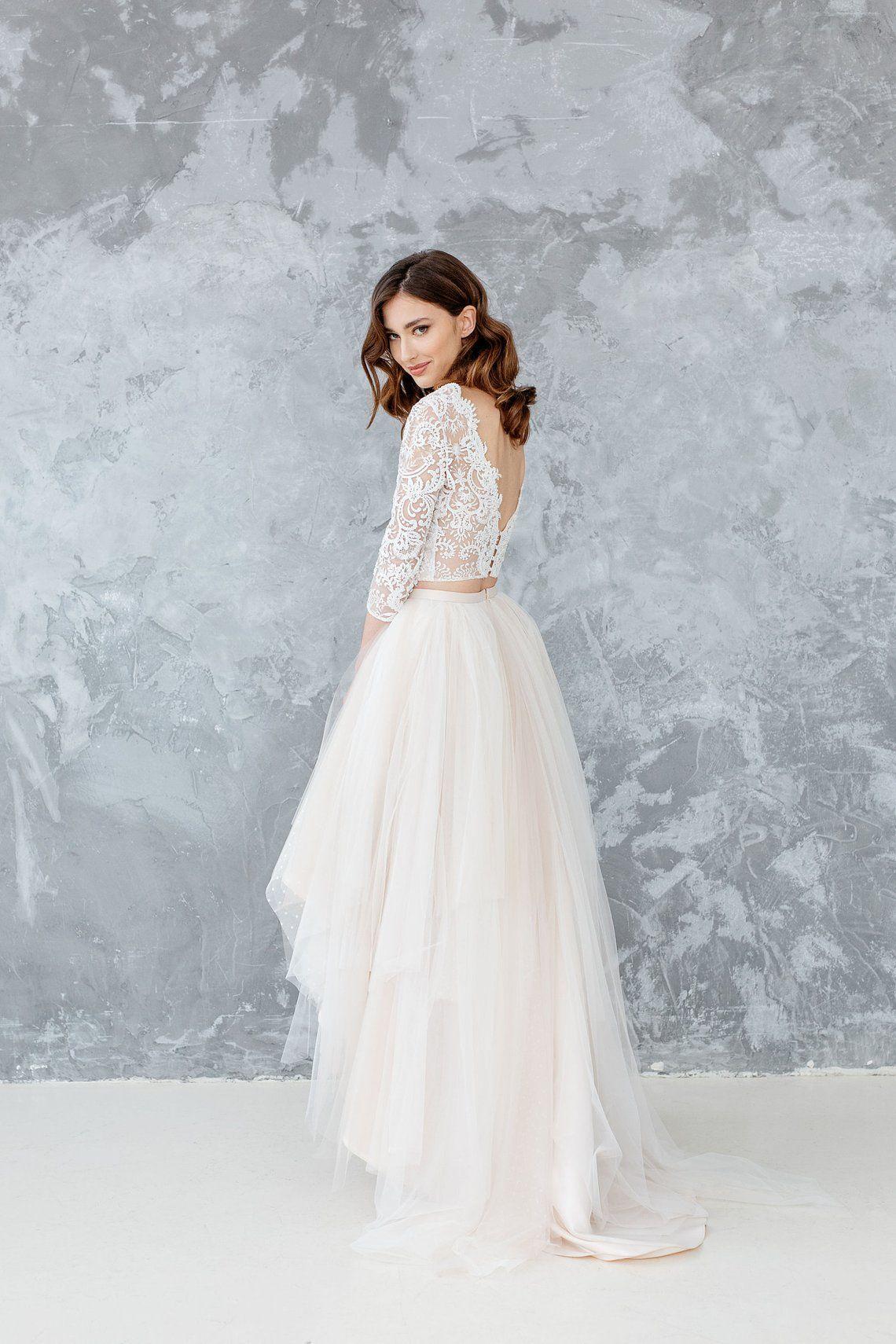 Ivory Lace Wedding Top Astrid Bridal Crop Top With With Etsy In 2020 Crop Top Wedding Dress Top Wedding Dresses Bridal Crop Top