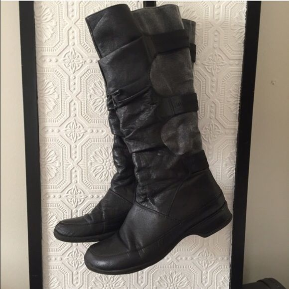 Miz mooz boots Preloved black leather and grey canvas knee high boots. They're super cute but definitely show signs of wear, as pictured. Priced reflects! Easy fix peel at heel. Miz Mooz is a quality brand from Anthropologie, Nordstrom and Free People. Size 38 but definitely size 7.5 Free People Shoes Combat & Moto Boots